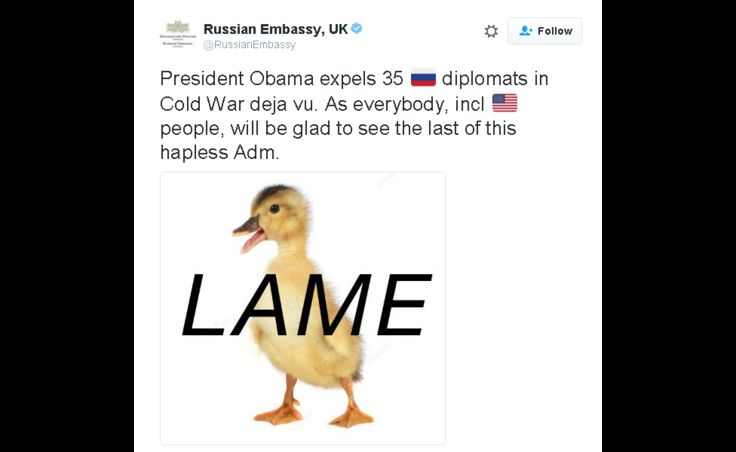 Russian Embassy tweets: President Obama expels 35 🇷ussian diplomats in Cold War deja vu. As everybody, incl american people, will be glad to see the last of this hapless Adm.