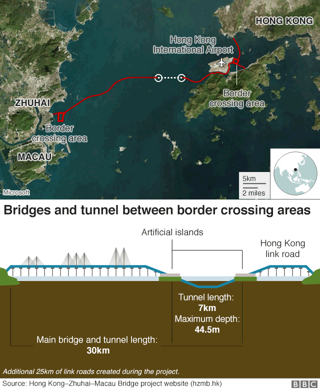 Graphic: Bridge and tunnel cross-section and location map