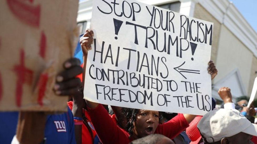 Protesta haitiana contra Trump.