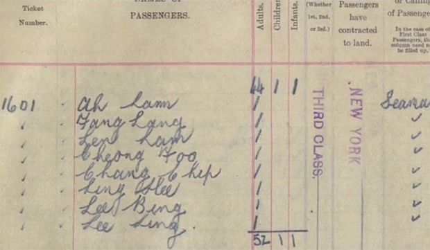 A single ticket lists the names of the Titanic's eight Chinese passengers.