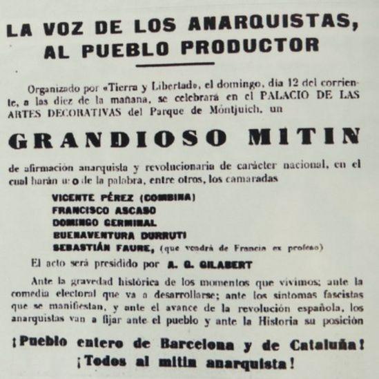 Cartel mitin anarquista en Barcelona