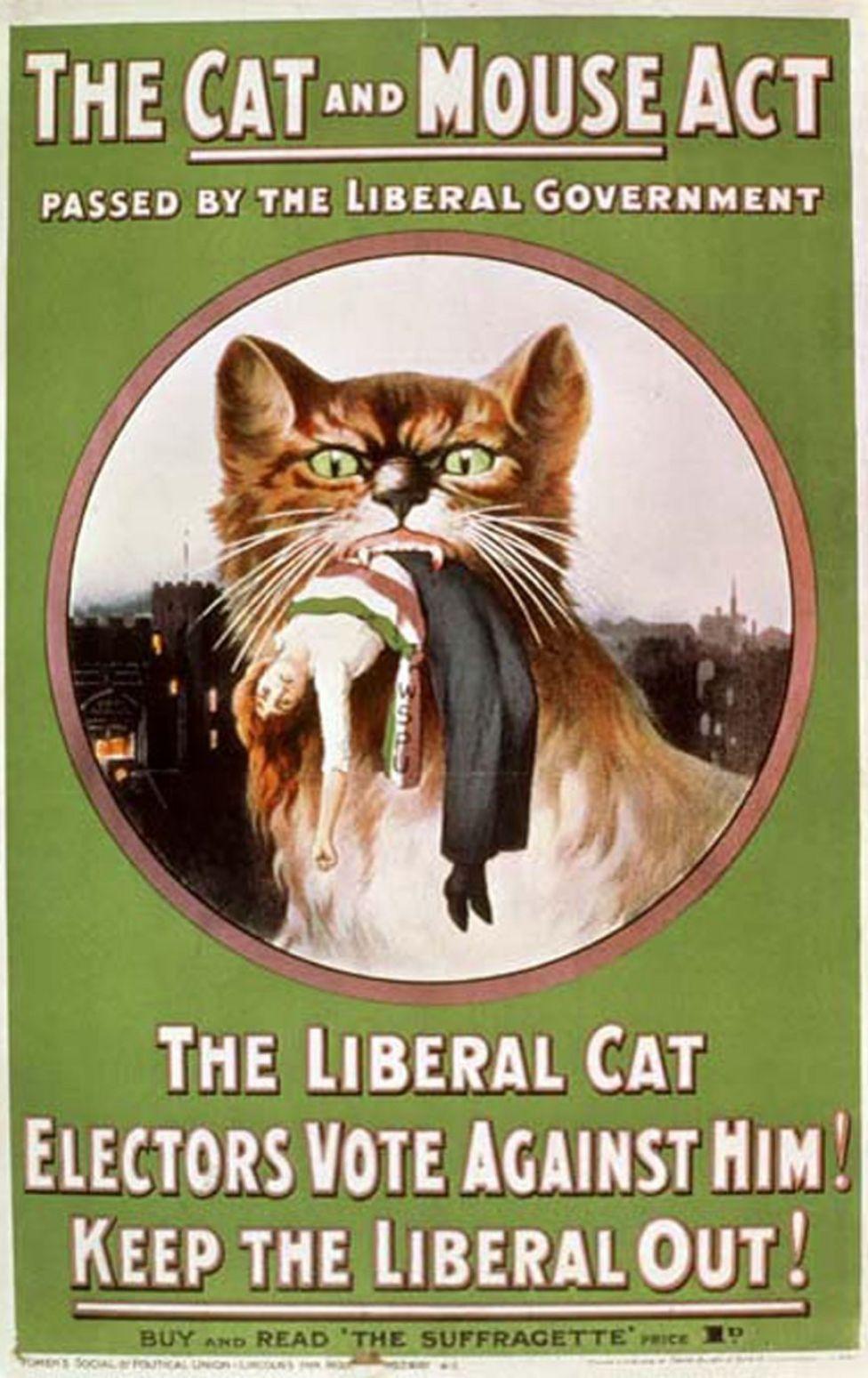 Panfleto de la WSPU denunciando la'Ley del gato y el ratón'