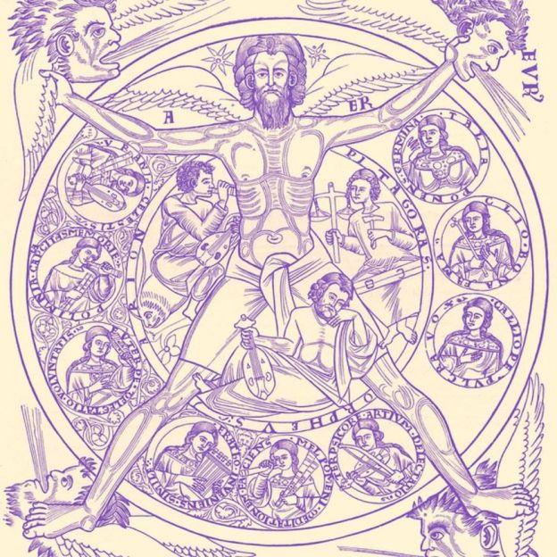 Poesía y música: Las nueve musas inspiran a Arión, Orfeo y Pitágoras, con la ayuda de la fuente de toda armonía. Una miniatura de'Liber Pontificalis', manuscrito del siglo XIII
