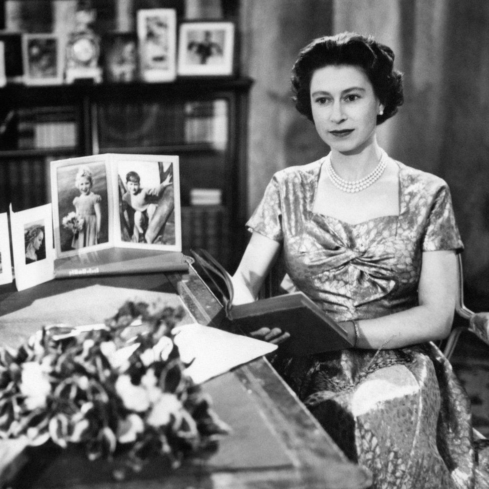 Queen Elizabeth II in the Long Library at Sandringham after making the first televised Christmas Day broadcast to the nation