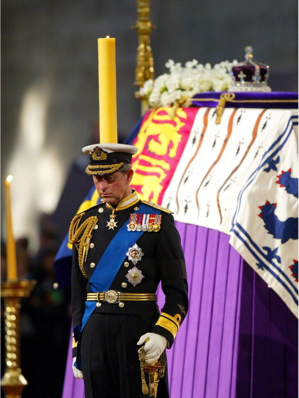 Prince of Wales standing vigil beside the Queen Mother's coffin in Westminster Hall in London