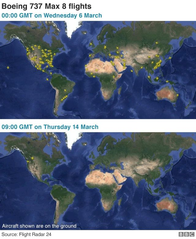 Map: Boeing 737 Max global flights before and after flight bans were imposed