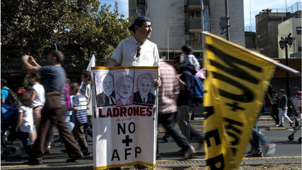 Protesta contra el sistema de pensiones en Chile