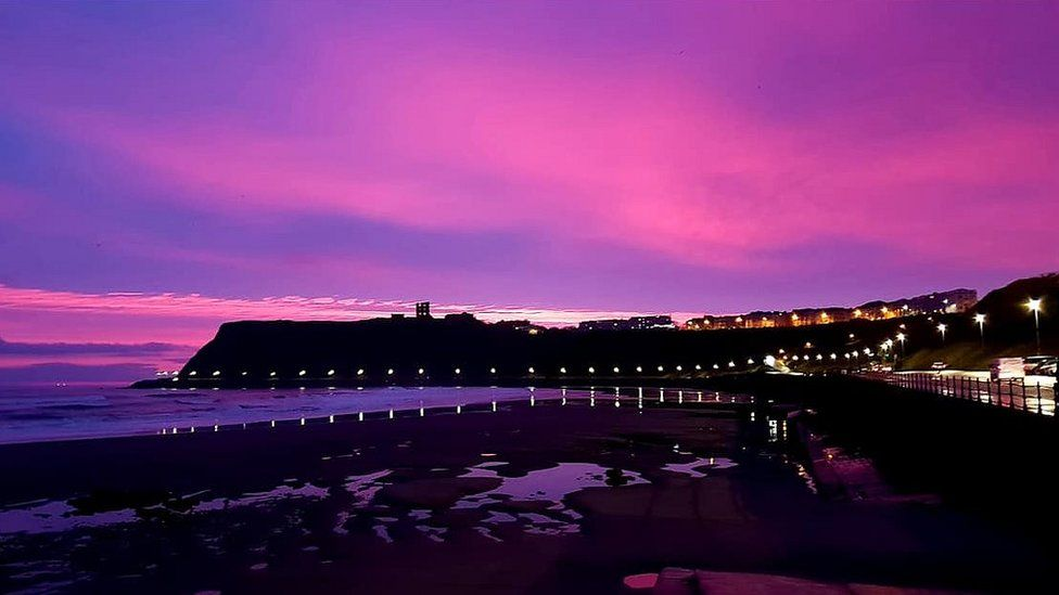 purple skies seen across