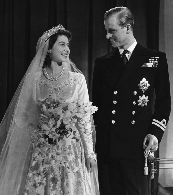 The Queen and the Duke of Edinburgh after their marriage in 1947