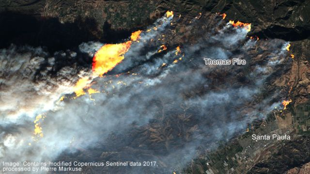 Satellite image of the Thomas Fire in California