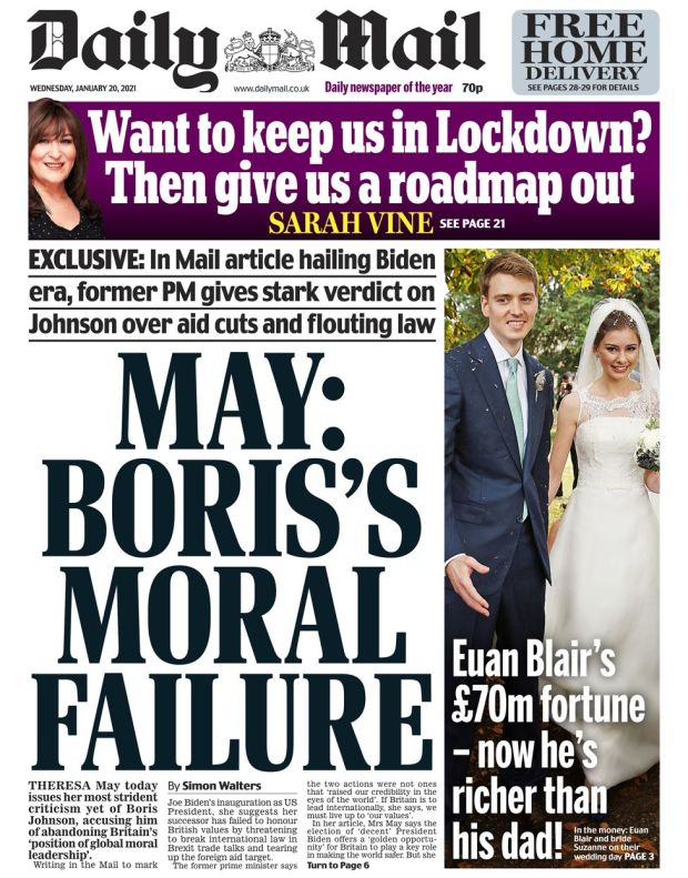 Daily Mail front page - 20/01/21