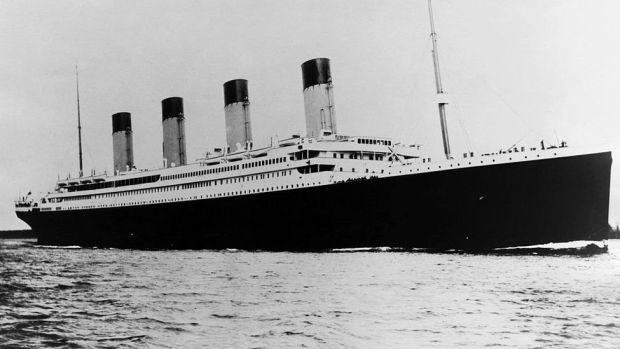 Photo shows the ill-fated luxury liner, the Titanic, sailing the ocean