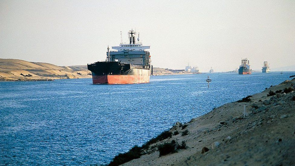 File image of cargo ships transits the Suez Canal near Ismailia, Egypt