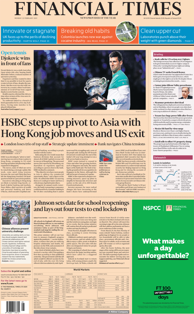 The Financial Times front page 22 February 2021