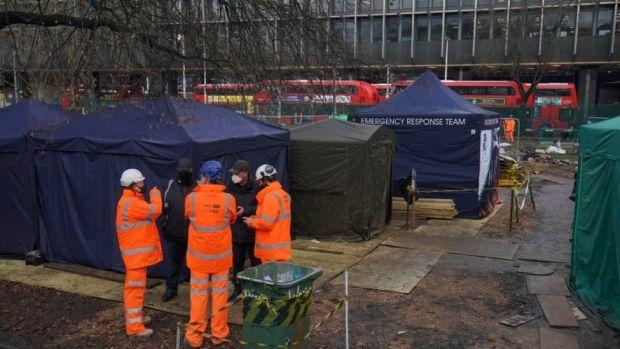 HS2 Rebellion encampment in Euston Square Gardens