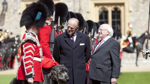 Prince Philip appearing with Irish President Michael D Higgins