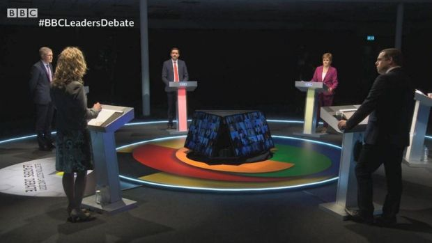 debate wide shot
