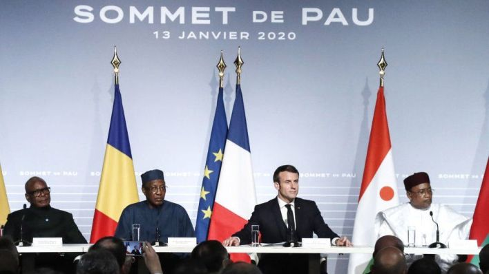 Leaders attend a press conference as part of the G5 Sahel summit on the situation in the Sahel region at the Chateau de Pau (Pau Castle) in Pau, on January 13, 2020