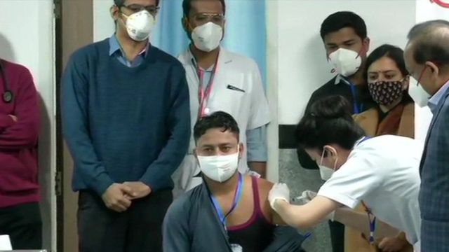A sanitation worker became the first Indian to receive a Covid vaccine.