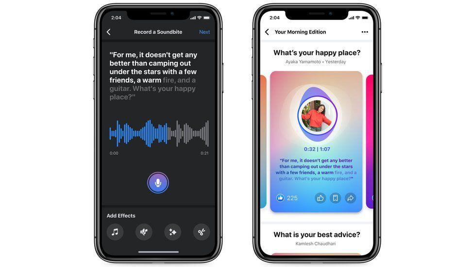 Two mobile phones displaying Soundbites