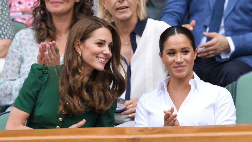 Catherine, Duchess of Cambridge and Meghan, Duchess of Sussex attend the Women's Singles Final of the Wimbledon Tennis Championships at All England Lawn Tennis and Croquet Club