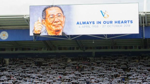 The big screen at Leicester pays tribute to Vichai Srivaddhanaprabha