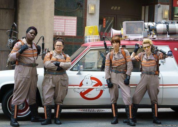 Leslie Jones, Melissa McCarthy, Kristen Wiig and Kate McKinnon in Ghostbusters
