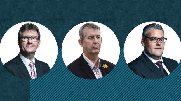 Sir Jeffrey Donaldson, Edwin Poots and Gavin Robinson