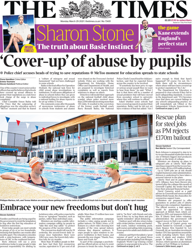 The Times front page 29 March 2021