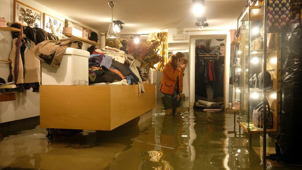 A flooded shop in Venice