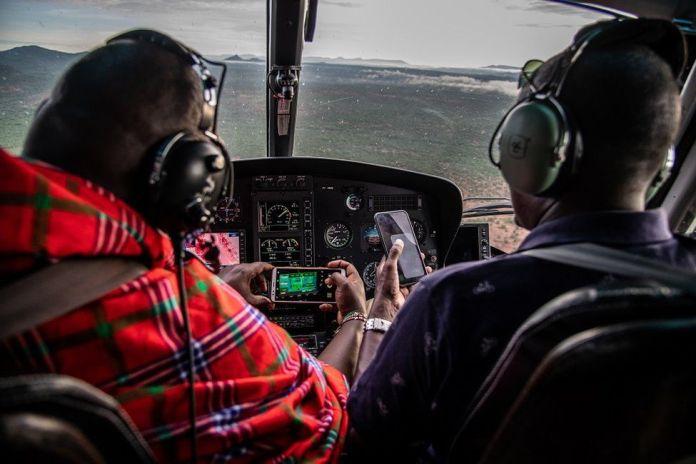 Dans le cockpit de l'hélicoptère