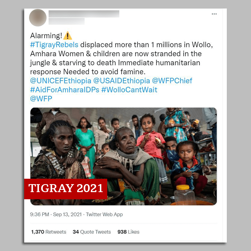 Screengrab of tweet with image of women and children from Tigray