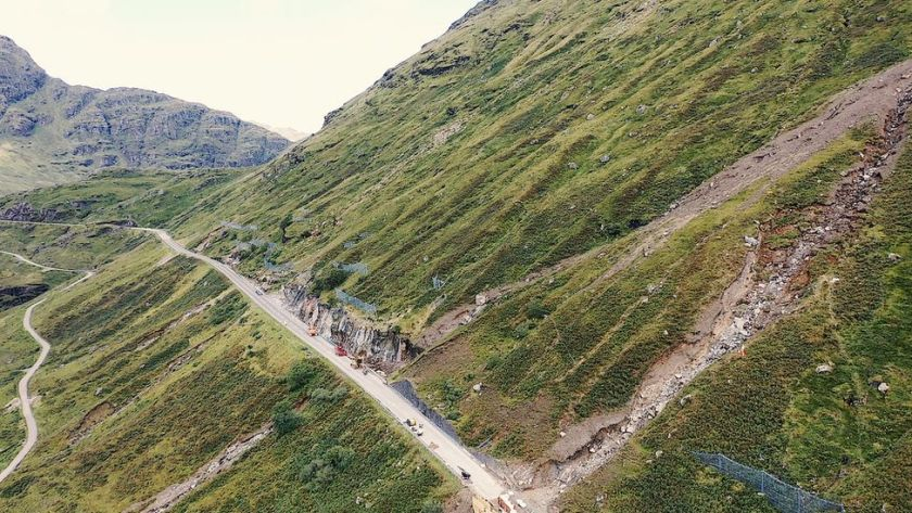 The damaged section of the A83, with the Old Military Road below