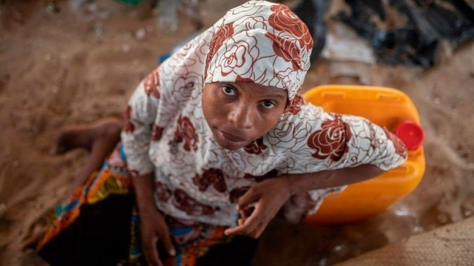 A displaced Mozambican woman. File photo