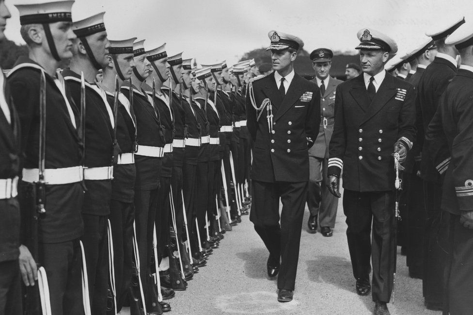 The Duke of Edinburgh inspecting Canadian Sailors at Pirbright, 1953