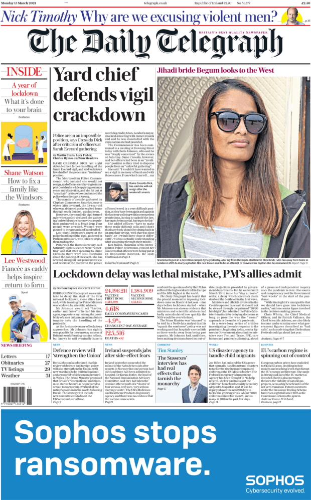 The Daily Telegraph front page 15 March 2021