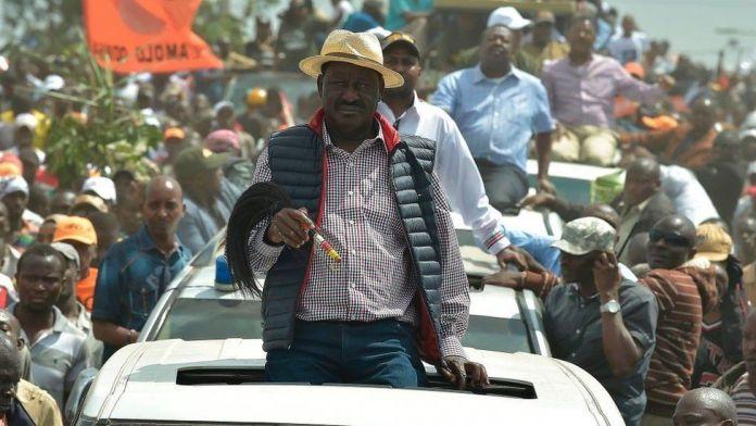 Kenyan's opposition party National Super Alliance (NASA) leader Raila Odinga looks on during a demonstration following his arrival to the Jomo Kenyatta International airport on November 17, 2017 in Nairobi.