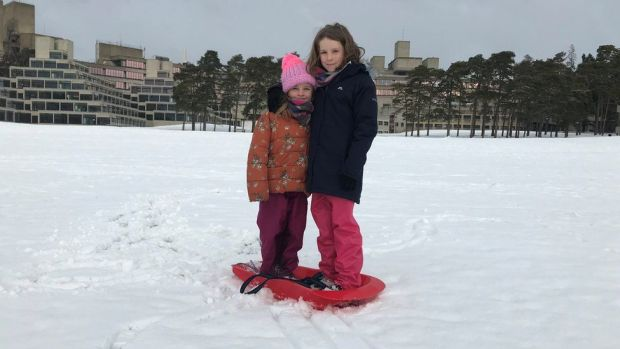 Mollie and Nell enjoying the snow