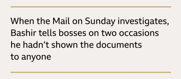 Text box: When the Mail on Sunday investigates, Bashir tells bosses on two occasions he hadn't shown the documents to anyone