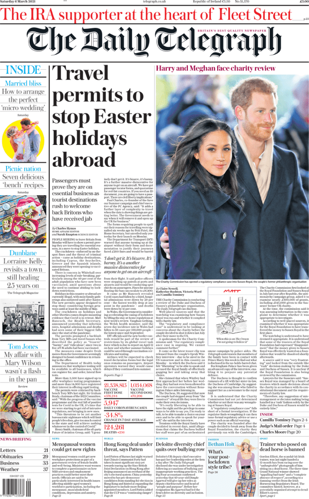 The Daily Telegraph front page 6 March 2021
