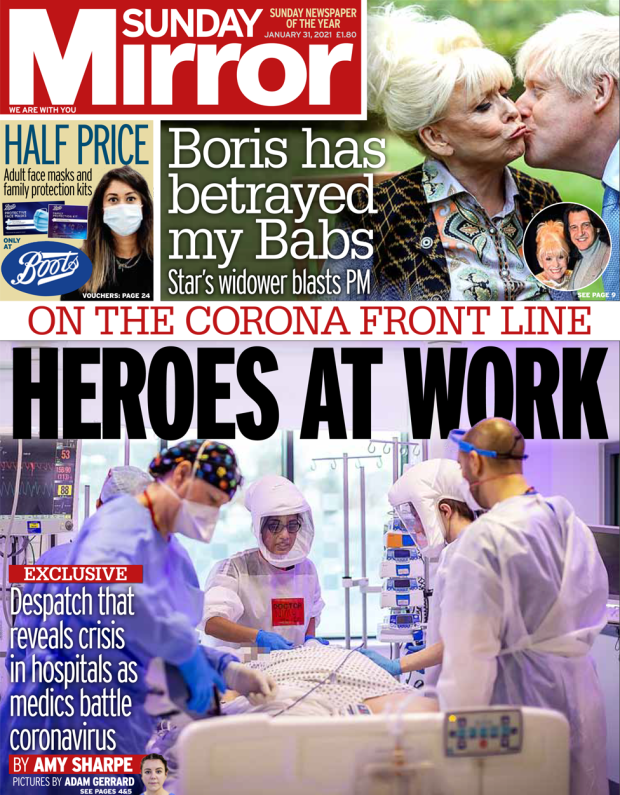 The Sunday Mirror front page 31 January 2021