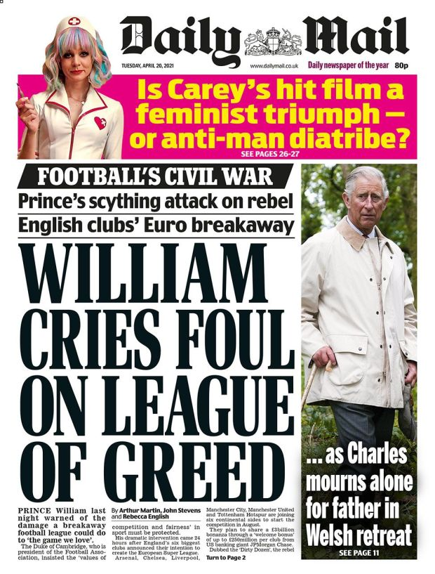 The Daily Mail front page 20.04.21