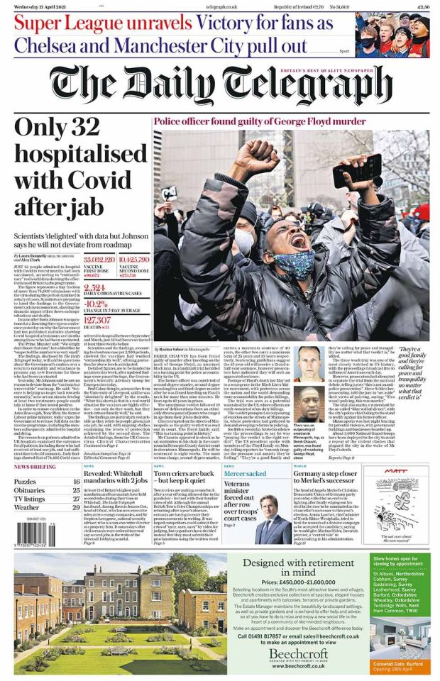 Daily Telegraph front page 21.04.21
