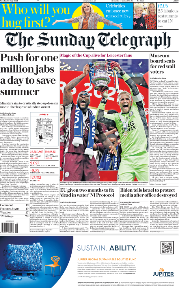 The Sunday Telegraph front page 16 May 2021