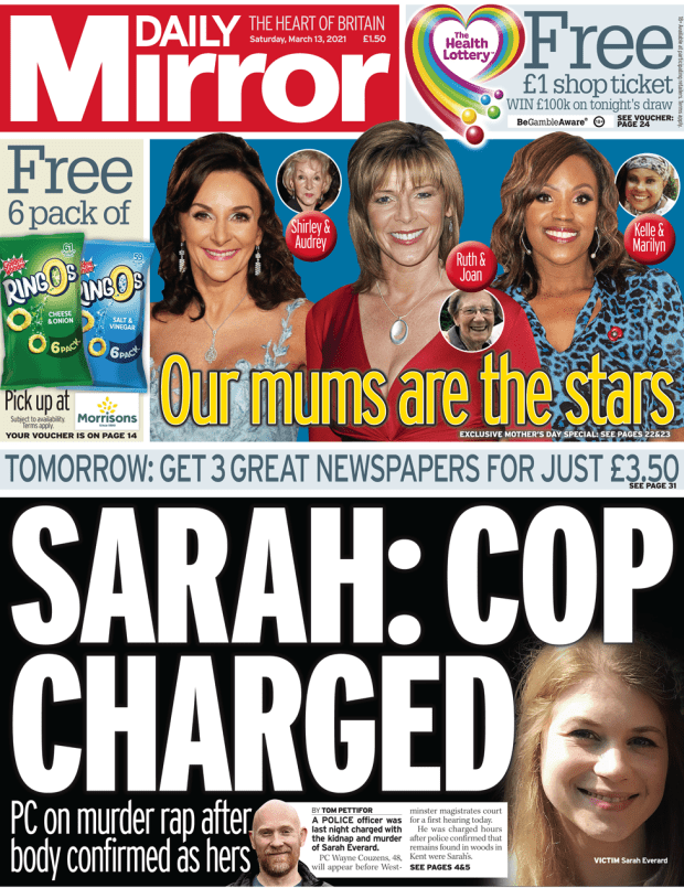 The Daily Mirror front page 13 March 2021