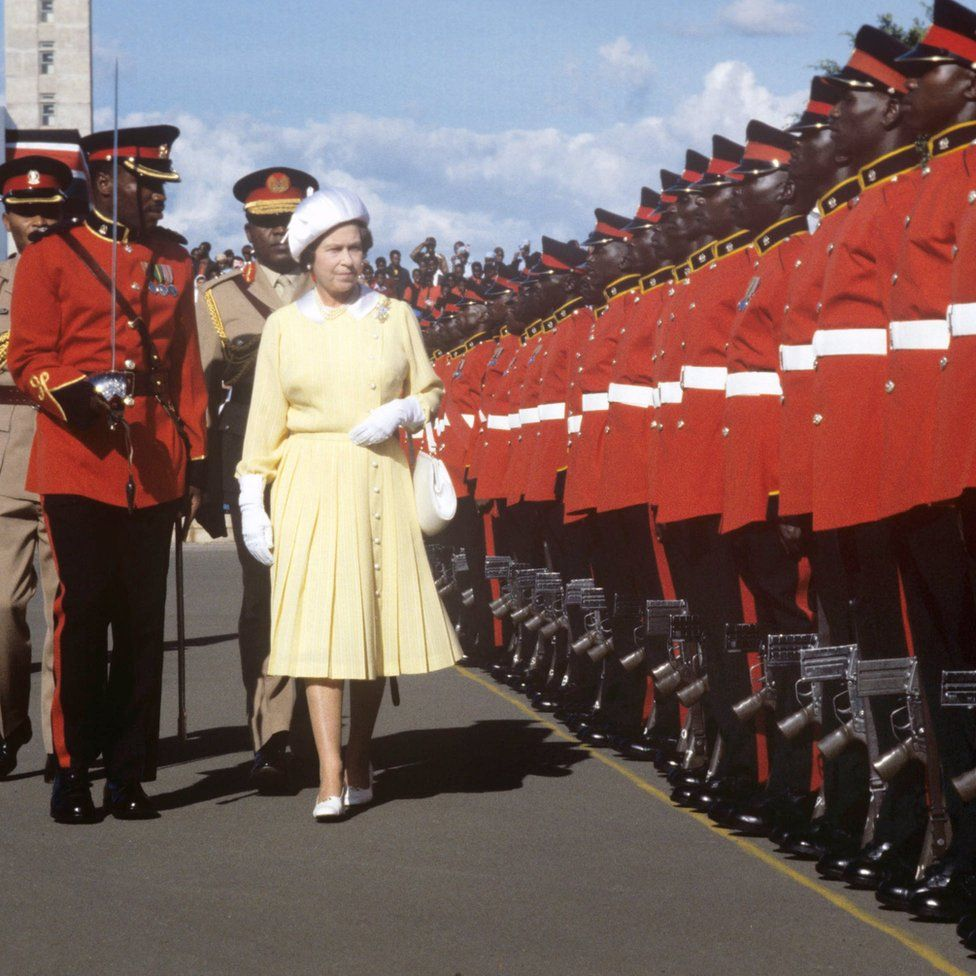 Queen Elizabeth II inspecting the Guard of Honour at Jomo Kenyatta International Airport