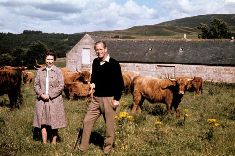Queen Elizabeth II and the Duke of Edinburgh during a visit to a farm on their Balmoral estate, to celebrate their Silver Wedding anniversary