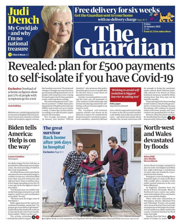 Guardian front page - 22/01/21