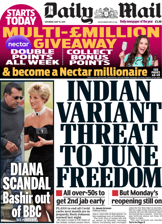 The Daily Mail front page 15 May 2021