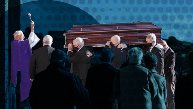 The funeral of Anita Downey's father